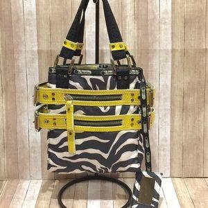 Lesportsac Yellow Patent & Buckle Zebra Small Tote